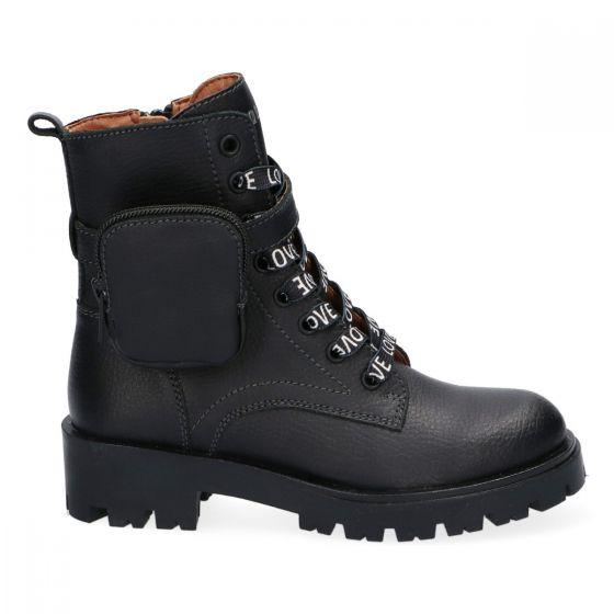 Zwarte biker boots met afneembaar tasje