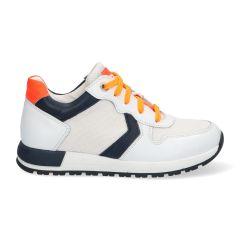 Sportieve witte jongenssneakers met oranje en donkerblauw