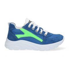 Sportieve blauwe jongenssneakers met neon groen