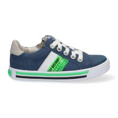 Blauwe sportieve jongenssneakers met groene en witte details