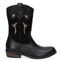 Zwarte western laarzen met panterprint