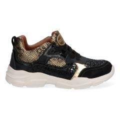 Zwarte meidensneakers met goud