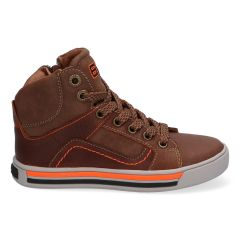 Bruin met oranje hoge sneakers met stootneus