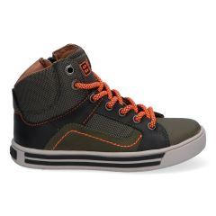 Groen met oranje hoge sneakers met stootneus